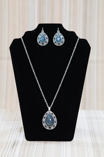 Opalescent Teardrop Necklace and Earring Gift Set