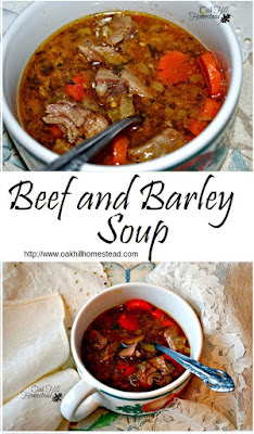Beef Barley Soup, a simple, frugal and delicious soup made with beef, vegetables and pearled barley. From Oak Hill Homestead