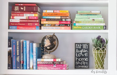 stack books by color
