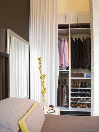 made of metal use a curtain rod to create a closet