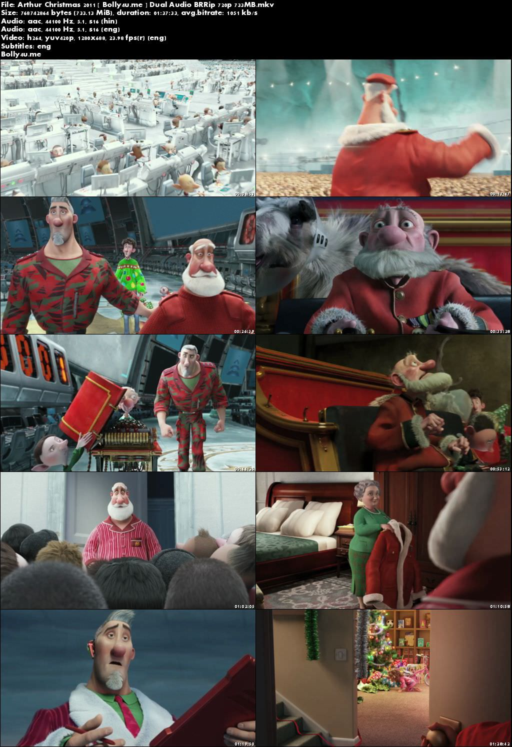 Arthur Christmas 2011 BRRip 700MB Hindi Dual Audio 720p ESub Download