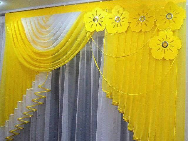 Contemporary Yellow Curtain Design With Florals Render