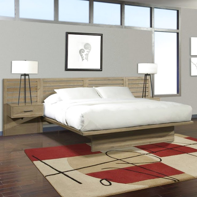 queen platform bed with floating nightstands