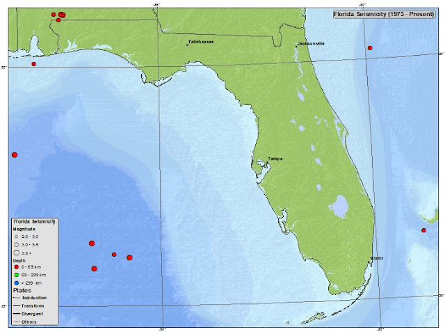 Florida Earthquakes 1973 to present