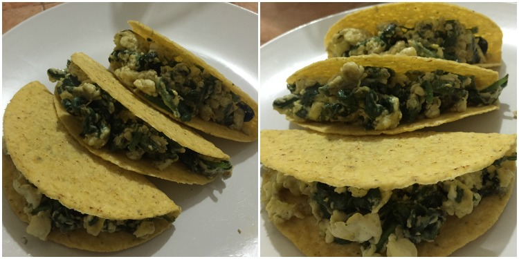 Eggs and Spinach Tacos