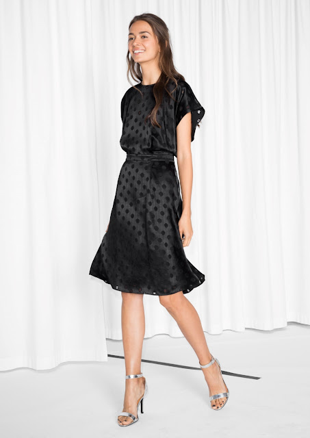 stories black spot dress, black spotty dress,
