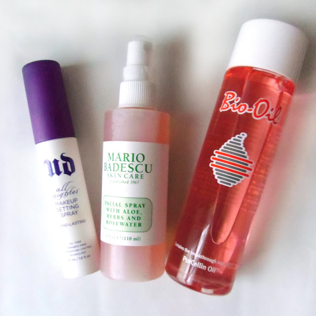 Urban decay all nighter setting spray, Mario Badescu facial spray, Bio oil