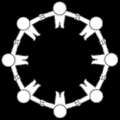輪になる棒人間のイラスト(俯瞰)