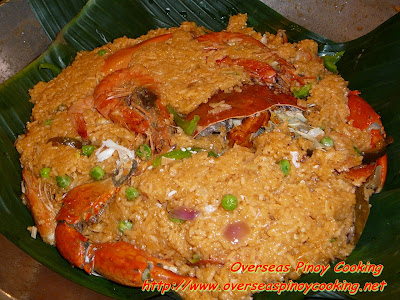 Crabs and Prawns in Aligue Rice - Cooking Procedure