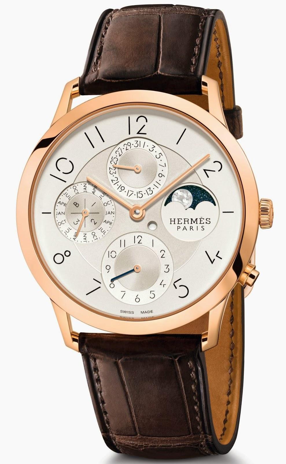 Hermès - Slim d'Hermès Perpetual Calendar watch with rose gold case