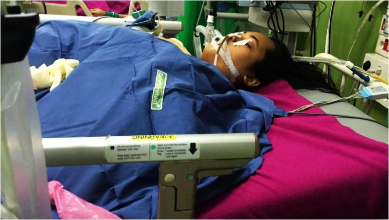 Rezky Eviana Syamsul saat dirawat di RS Wahidin Sudirohusodo