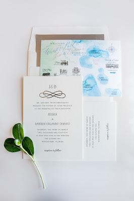 watercolor wedding stationary