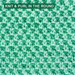 Crochet Knit Stitch In The Round : Double Moss Stitch - knitting in the round Knit - Purl stitches