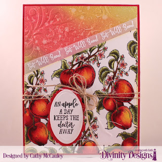 Divinity Designs Stamp Set: Apple Branch, Embossing Folder: Flourishes,  Custom Dies: Pierced Rectangles, Ovals, Vintage Label Flip Card with Layers