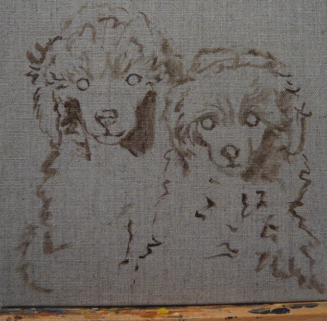 work-in-progress poodle painting