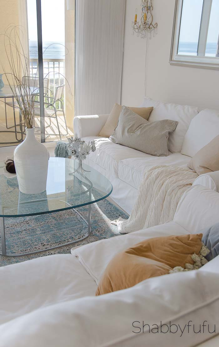 pottery barn white slipcovered sofa