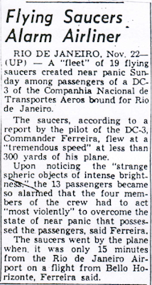 Flying Saucers Alarm Airliner - Party Mirror 11-22-1954
