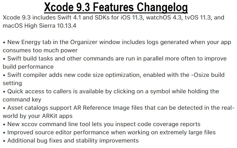 Xcode 9.3 Final Features Changelog