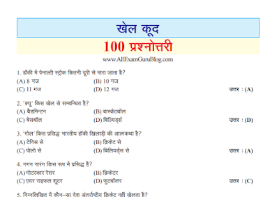 100 Most Important Sports GK Question Answer Download pdf