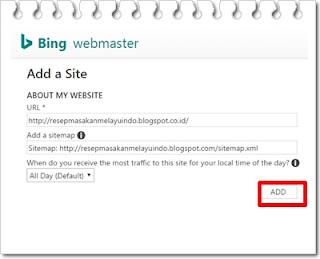 Cara daftar blog ke bing webmaster lengkap dengan gambar