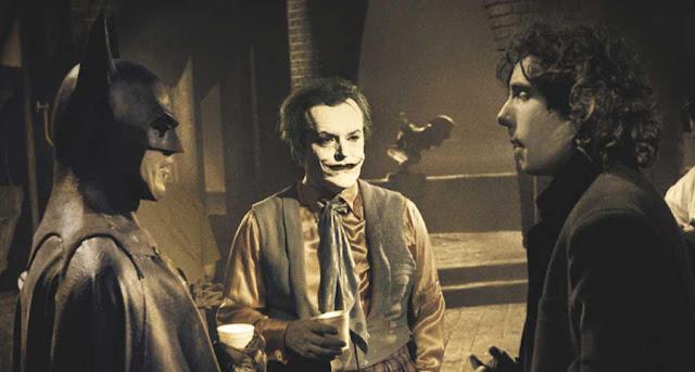 Keaton como Batman, Nicholson como Joker y Tim Burton en set de Batman