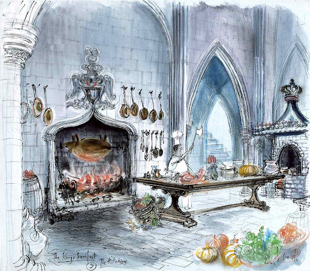 a Ronald Searle color image, The King's breakfast, a castle kitchen and cook