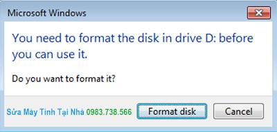 Sửa lỗi ổ cứng đòi Format