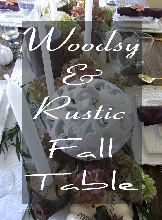Country style Fall table using diy candle holders, purple, brown and white color scheme.