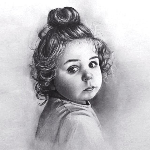 karakalem çocuk portresi