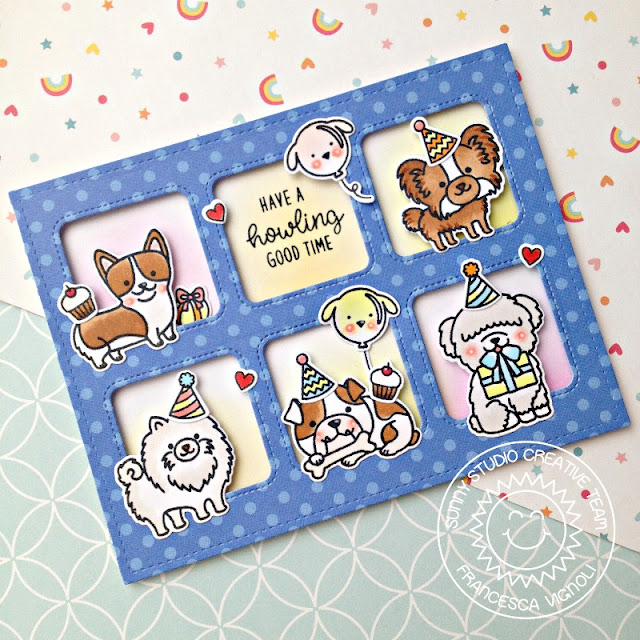 Sunny Studio Stamps: Party Pups Window Trio Squares Grid Birthday Themed Card by Franci Vignoli