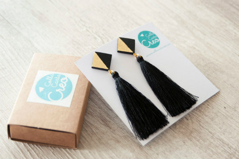 black paper and gold foil earrings with black tassels