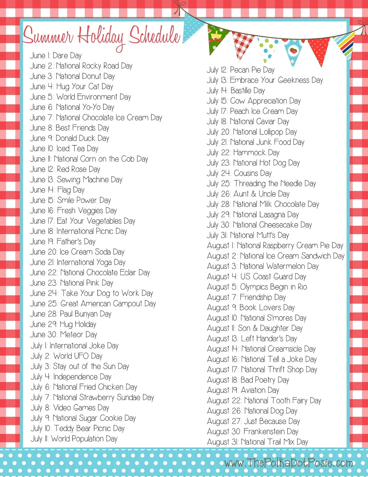 The Polka Dot Posie Free Summer Printables To Help You Get Organized