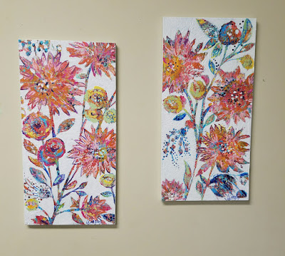 textured abstract flower paintings