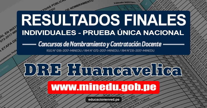 DRE Huancavelica: Resultado Final Individual Prueba Única Nacional y Relación de Postulantes Habilitados para Etapa Descentralizada Nombramiento Docente 2017 - MINEDU - www.drehuancavelica.gob.pe