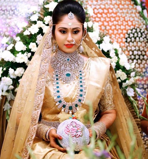Bride in Diamond Emerald Set Two tier Choker