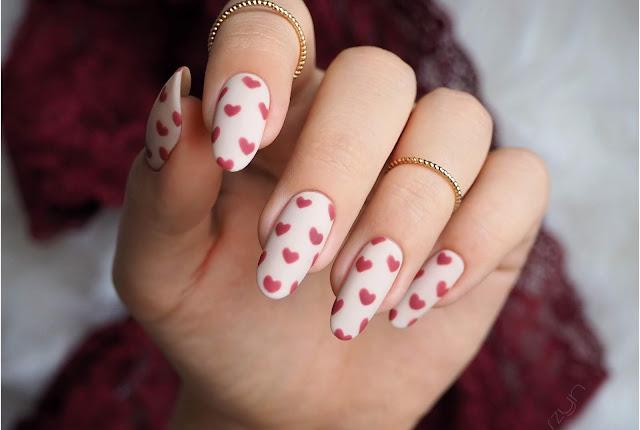 Proste walentynkowe paznokcie | NCLA