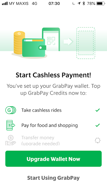GrabPay - Need to upgrade wallet first