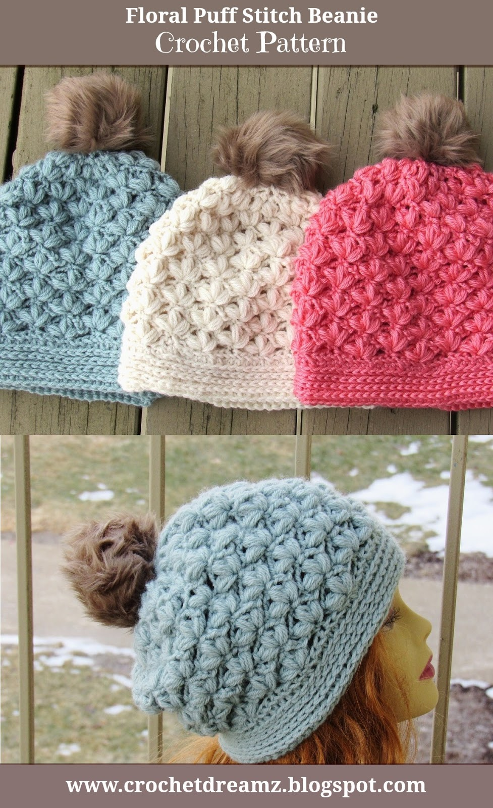 Winter Blossom Slouch Crochet Pattern, Options to Make a Regular ...