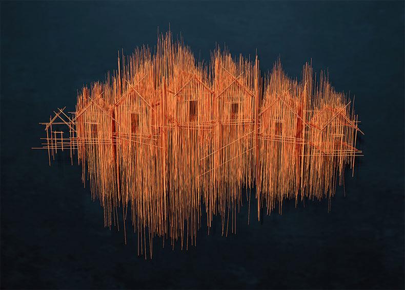 Esculturas arquitectónicas imitan las frenéticas líneas de los rápidos bocetos a lápiz
