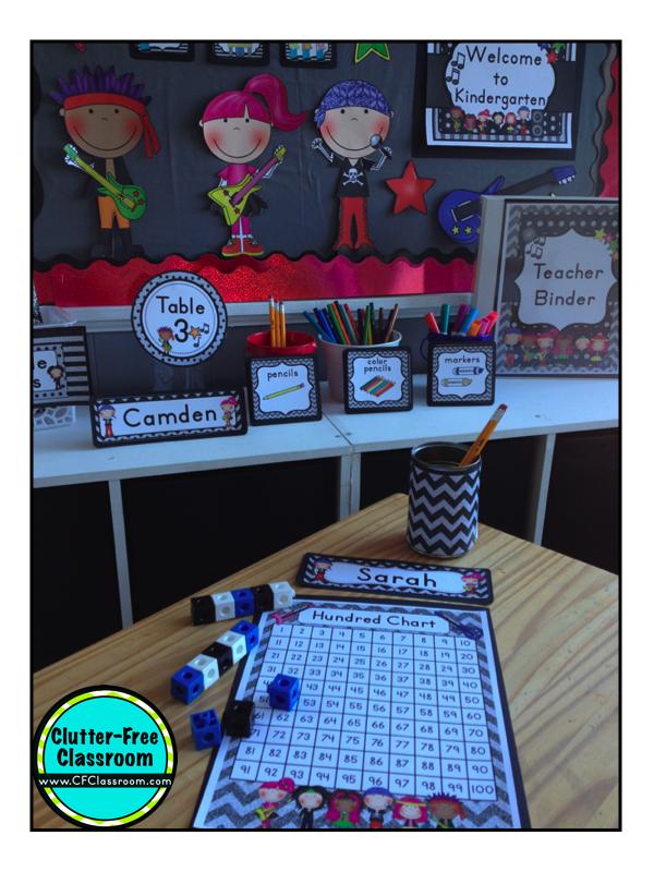 Classroom Theme Ideas For St Grade ~ Rockstar themed classroom clutter free
