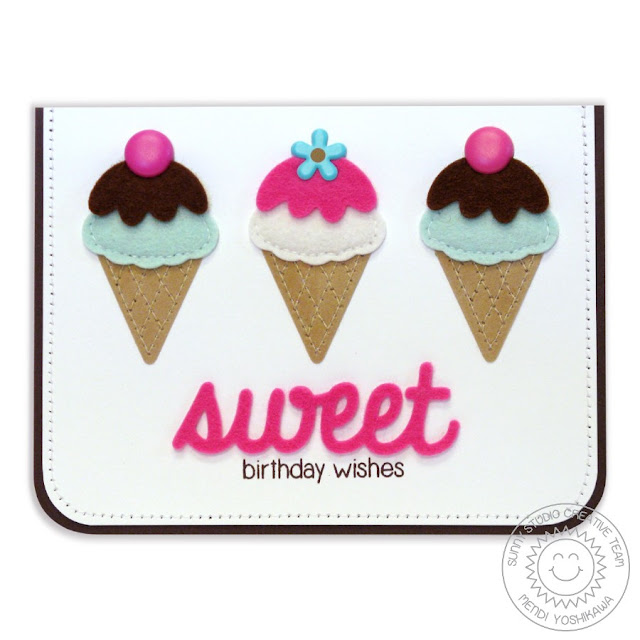 Sunny Studio Stamps: Birthday Smiles Felt Ice Cream Cone Card by Mendi Yoshikawa
