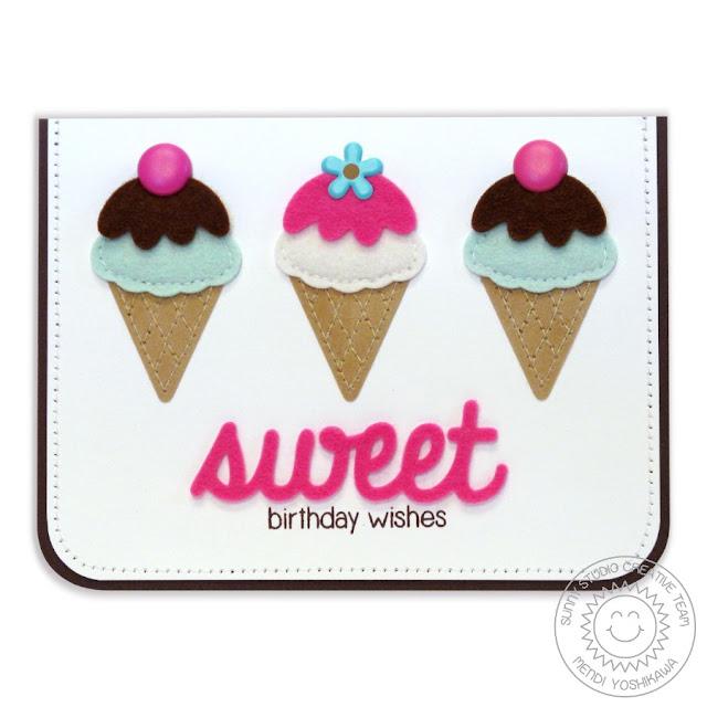 Sunny Studio Stamps: Birthday Smiles Felt Ice Cream Cone Card by Mendi Yoshikawa
