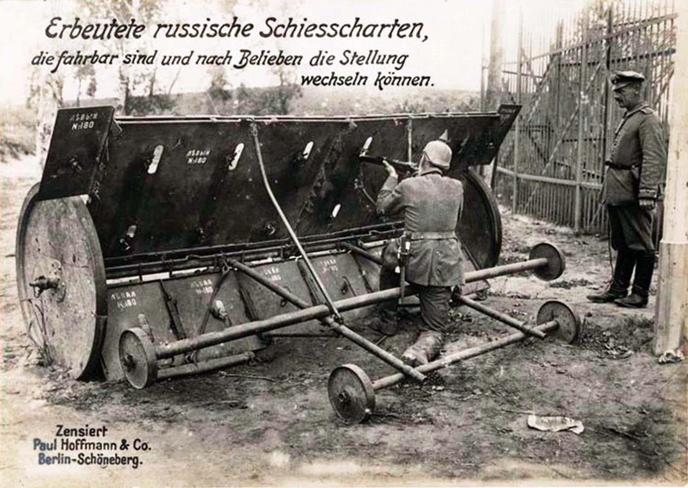 Un escudo móvil ajustable ruso capturado por los alemanes, 1914.
