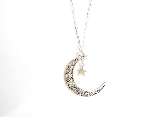 Crescent moon and star necklace - gold - silver - antique