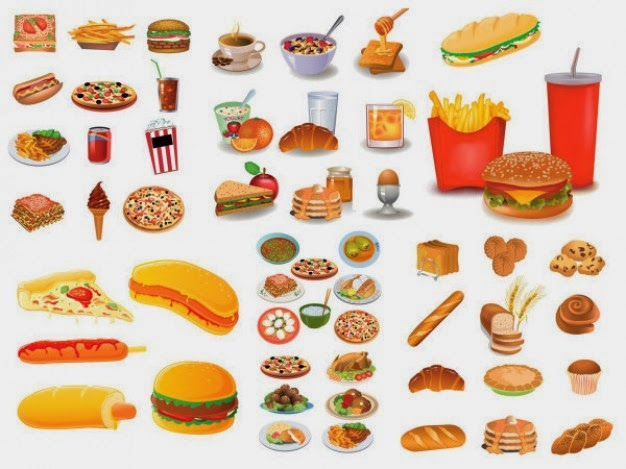 Various types of fried, spicy, salty fast food