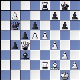 Partida Alekhine - Valles en el IV Torneo Internacional de Ajedrez de Sabadell 1945, posición después de 33.e5!?