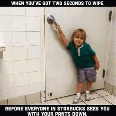 two seconds to wipe starbucks, mom funny, parenting funny, dad funny, SAHD comic, SAHM humor, kid in starbucks bathroom, going to the bathroom with kids