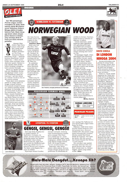 WIMBLEDON VS TOTTENHAM HOTSPUR NORWEGIAN WOOD