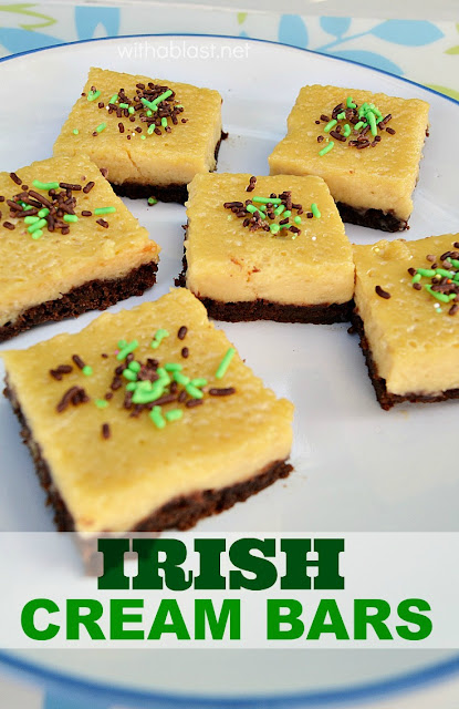 LOVE these Irish Cream Bars ! Smooth, creamy top layer with a slightly chewy chocolate crust - what can be better than combining chocolate and Bailey's ??