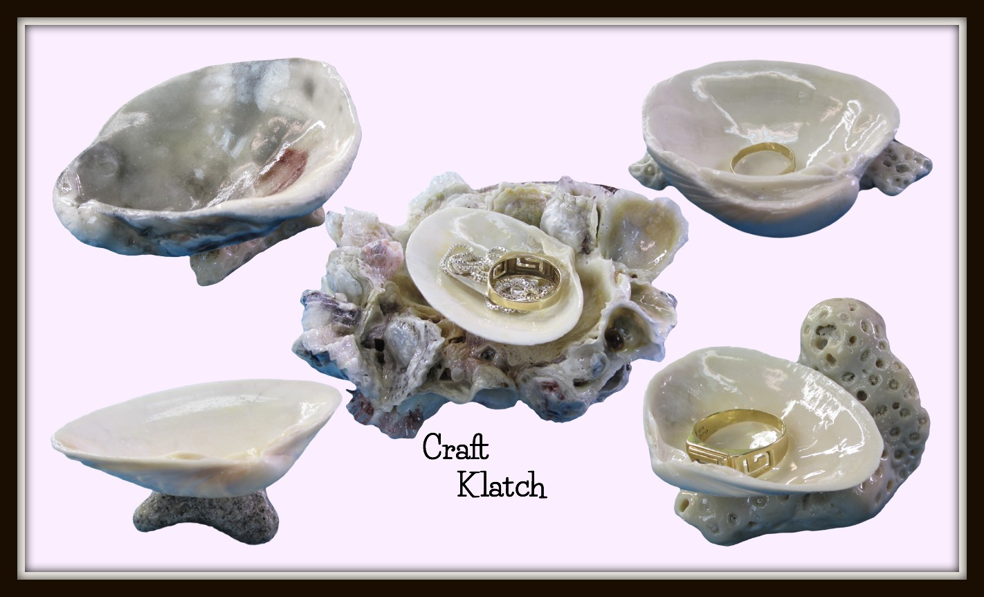 Craft klatch diy easy seashell ring holders crafting for Sea shell craft ideas